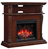 ClassicFlame Corinth Wall or Corner TV Stand for TVs up to 47', Vintage Cherry (Electric Fireplace Insert sold separately)