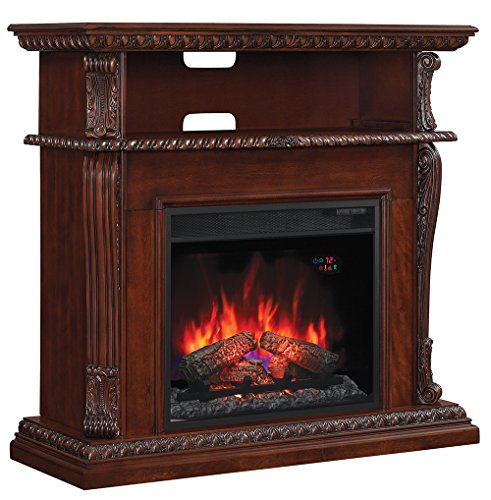 "Classic Flame 23DE1447-W502 Corinth Wall or Corner TV Stand for TVs up to 47"", Burnished Walnut (Electric Fireplace Insert Sold Separately)"