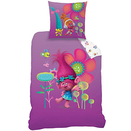 CTI Trolls Poppy Juego de Cama, algodón, Violeta, 135 x 200 x 80 cm