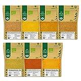 BIO Indische Gewürzmischungen Masala 7er SET - Garam Masala, Chicken Curry, Biryani Masala, Hot Bombay Curry, Kreuzkümmel, Kurkuma, Chili gemahlen - Grundausstattung Geschenkset Gewürze