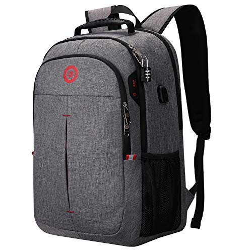 Drappers Trailmaker with Anti-Theft Lock & Water-Resistant Backpack, USB Charging & Audio slot, Extra Large Workbag, College & Business Rucksack, for 17-inch Notebook Men Women -Grey