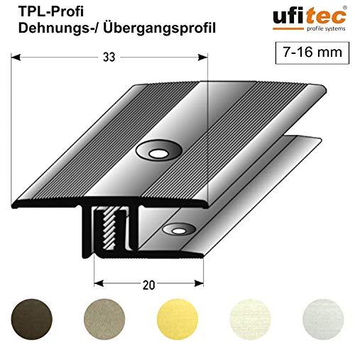 ufitec Profilsystem für Parkett- und Laminatböden - für Belagshöhen von 7-16 mm - viele Farben lieferbar (Übergangsprofil 90 cm lang | 33 mm Breit, Silber)