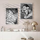 WAFENGNGAI Mural America Singer Poster Blanco y negro Vintage Portrait Art Prints Decoración para el hogar Imagen de pared para la decoración de la sala de estar del hogar-40X60Cmx2 Sin marco
