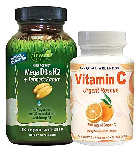 IRWIN NATURALS High Potency Mega D3 & K2 + Turmeric Extract 60ct + Vitamin C 30ct Bonus Pack