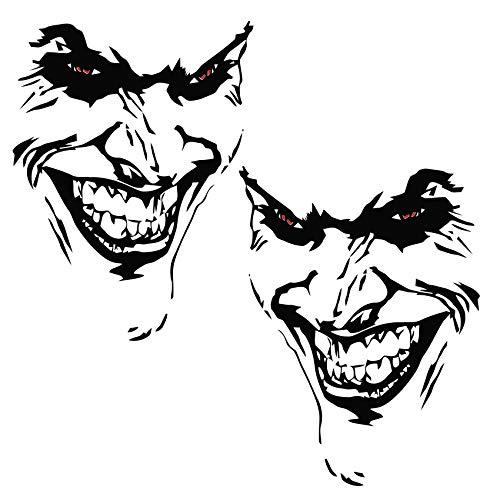Finest Folia Joker Aufkleber 10x7cm Why so serious Schriftzug Spruch Fahrzeug Dekor Folie für Auto Bus Wohnwagen Kfz Zubehör Autoaufkleber Clown (Schwarz Matt, K059 + K060 2X Joker)