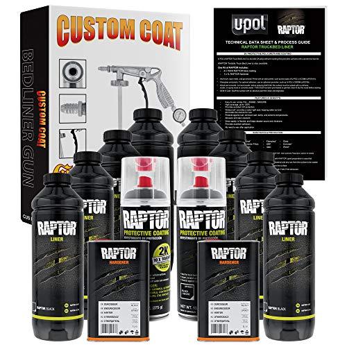U-Pol Raptor 8 Quart Kit - Black Urethane Spray-On Truck Bed Liner Kit with Custom Coat Spray Gun with Regulator - Bonus 2 Bedliner Aerosol Cans