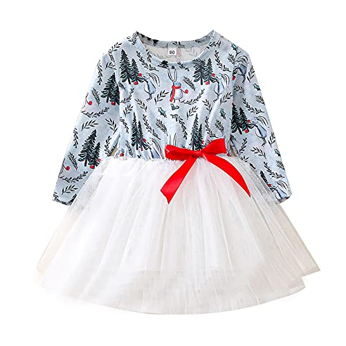 Xmas Baby Girls Dress Toddler Kids Girls Christmas Print Patchwork Tulle Princess Dress Pretty Beautiful Dress Clothes Gray