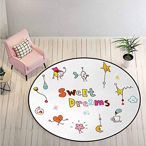LiHomecurtain Carpet Doodle Stars Box Crescent Moon Heart and Toys Colorful Sleep Themed Image Non-Slip Round Rug Easy to Blend in with Lots of Styles and Decor Multicolor Diameter - 5 Feet