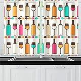 Botella de Vino Dringking Cortinas de Cocina Cortinas de Ventana Niveles para café Baño Lavandería Sala de Estar Dormitorio 26x39 Pulgadas 2 Piezas