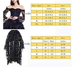 EUDOLAH Women's Gothic Steampunk Steel Boned Corset Dress Skirt Set Costume (UK 14-16 (2XL), Black) #2