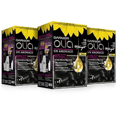 Garnier Olia - Pack de 3 coloración permanente sin amoniaco para un olor agradable con aceites florales de origen natural, color tono 1.0 negro ébano