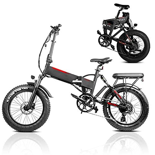 Bicicleta eléctrica Velocidad máxima de conducción 45 km/h Bicicletas Plegable Bici Plegable Iones de Litio 13.6AH Freno Frenos de Disco mecánicos, Negro