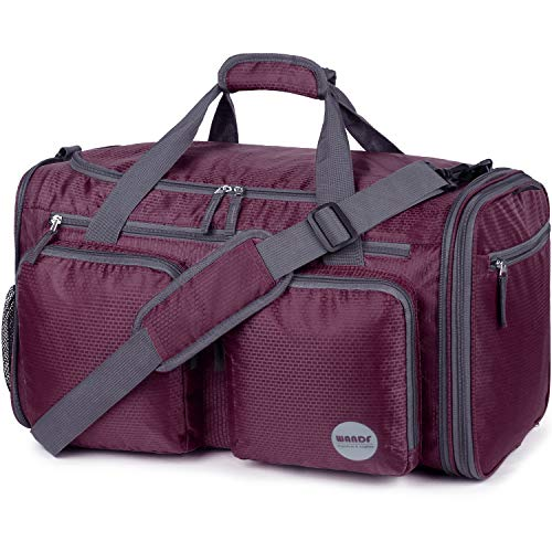 Foldable Sports Gym Bag with Wet Bag & Shoes Compartment, Travel Duffel for Men and Women (Wine Red)