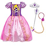 Cotrio Little Girls Princess Costume Dress Up Fancy Party Dresses Halloween Outfit Clothes with Accessories for 2-12Years (4T, 3-4Years, Wig, Tiara/Crown, Scepter)