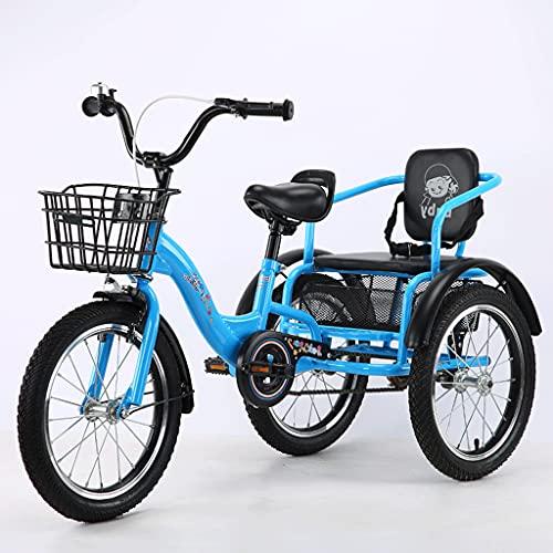 Triciclo de Adultos Triciclo Adulto Bicicleta De La Bici Del Triciclo De 16 Pulgadas De Triciclo Adulto Con La Cesta De Las Compras Bicicleta De Tres Ruedas Para La Recreación Bicicleta (Color:azul)