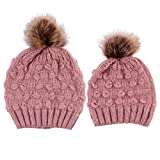 2PCS Parent-Child Hat, Mother Child Daughter Son Baby Winter Warm Soft Knit Hat Family Crochet Beanie Ski Cap with Pom Pom Pink