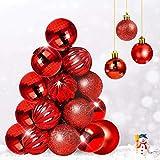 Qhui Bolas de Navidad rojas, 34 unidades, bolas de plástico con cuerda colgante,...