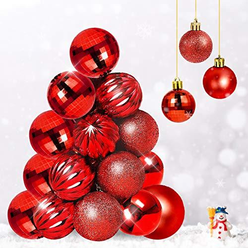 Qhui Weihnachtskugeln Rot, 34 Stück Weihnachtsdeko Kugeln Kunststoff mit Hängenden Seil, Weihnachtsschmuck Kugeln Klein für Innen außen Festival Dekorationen (40MM / 1.57'')