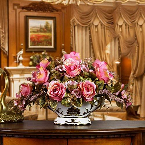 Vase Luxushalle Keramikvase + Künstliche Blumenfiguren Home Crafts Dekoration Veranda Esstisch Gefälschter Blumentopf Ornament Stil16