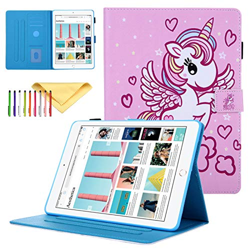 Tablet Case for Apple iPad Mini 5 4 3 2 1 Cover, Uliking Premium PU Leather Colorful Skin Stand Smart Wallet Cover with Autp Sleep/Wake Feature & Pen Holder & Magnet Buckle, Angel Unicorn