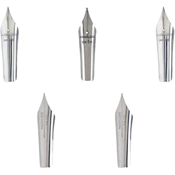 Noodler's Ink Art Nibs, Pack of 5: 2 Each Flex, 2 Each Non-Flex and 1 Each Tipped Non-Flex for Fountain Pens Stainless Steel (18098)