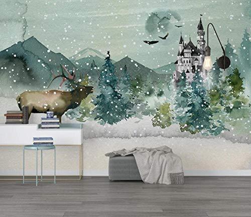 Fotomural Pared Dormitorio Castillo De Bosque De Alces Dibujados A Mano Acuarela Papel Pintado 3D Mural Pared Moderno Wallpaper,400cmX280cm