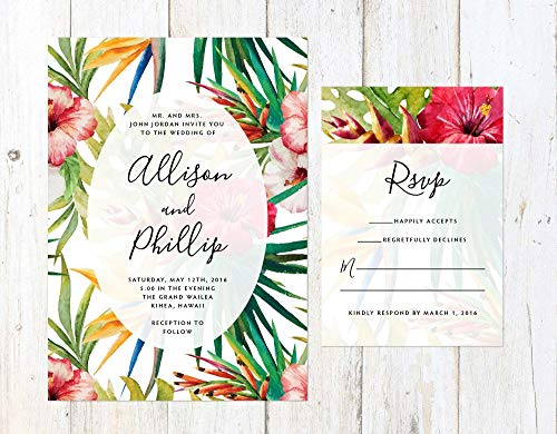 Tropical Flowers Wedding Invitation, Destination Wedding Invitation, Colorful Tropical Wedding Invite