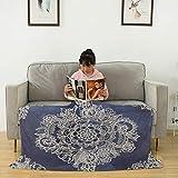 Manta de franela de color crema con estampado marroquí en color índigo, mullida, suave, acogedora, ligera, cálida manta de franela para sofá de cama