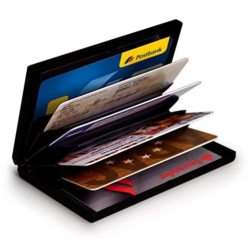 MyGadget Tarjetero Metalico con Bloqueo NFC - Slim Wallet Cartera Anti RFID - Porta Tarjetas de Credito con 6 Compartimientos para Hombre Mujer - Negro