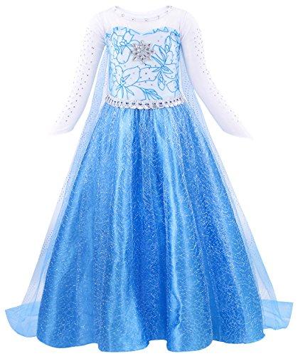AmzBarley Regina delle Nevi Elsa Costume Principessa Vestito Abito per Bambina Ragazza Carnevale Cosplay Partito Festa Compleanno Abiti Blu 5-6 Anni 120
