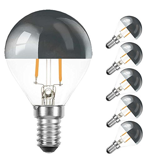 5 x LED Filament Tropfen 2W = 25W E14 Kopfspiegel Silber Glühfaden warmweiß 2700K