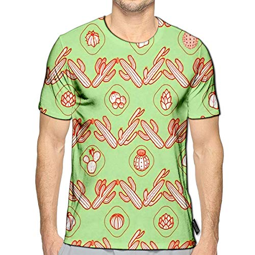 T-Shirt 3D Printed Horizontal Striped of Red Outline Cactus and Succulents On Pastel Green Casual Tees f
