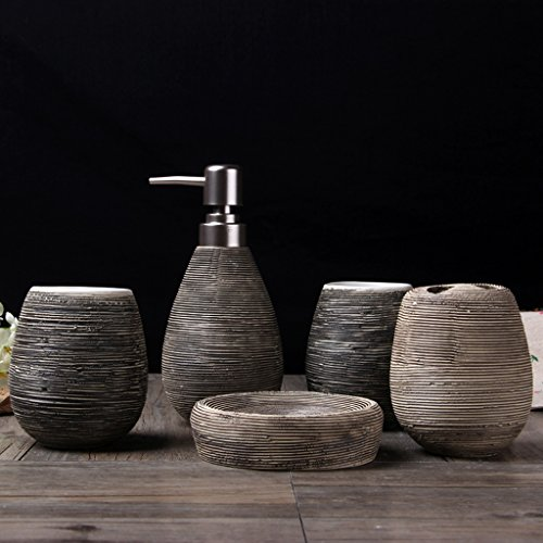 YWXG Ceramica 5pc Set di Accessori per Il Bagno Portaspazzolino Distributore di Sapone Portasapone Tazza di risciacquo Set di Accessori da Bagno Completo