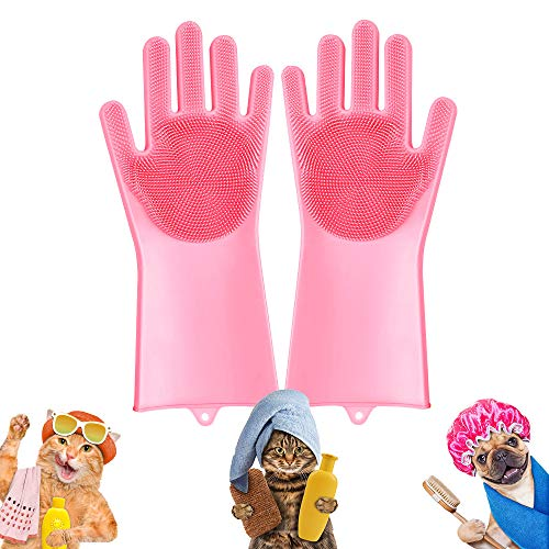 Pet-Grooming-Gloves for Bathing & Hair-Removal, Dog and Cat Brush Bath-Scrubber Glove, Pets Silicone Scrubbing Gloves for Shedding, Pet Shower Attachment Supplies for Anti-Bite & Anti-Scratch (Pink)