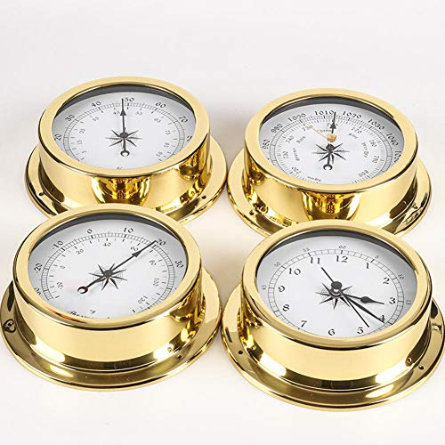 ASDMRQ 4 Pieces/Set of Brass Traditional Weather Station Barometer Thermometer Hygrometer and Clock 145mm Large Size