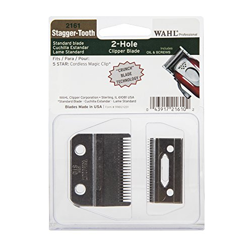 Wahl Professional Stagger-Tooth 2-Hole Clipper Blade #2161 - For the 5 Star Series Cordless Magic Clip - Includes Oil and Screws