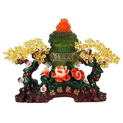 Árbol de Cristal de Siete Chakras Verde oscuro cornucopia cristal fortuna árbol casa oficina decoración cristal fortuna árbol feng shui auspicioso árbol árbol árbol árbol artificial los bonsais Figura