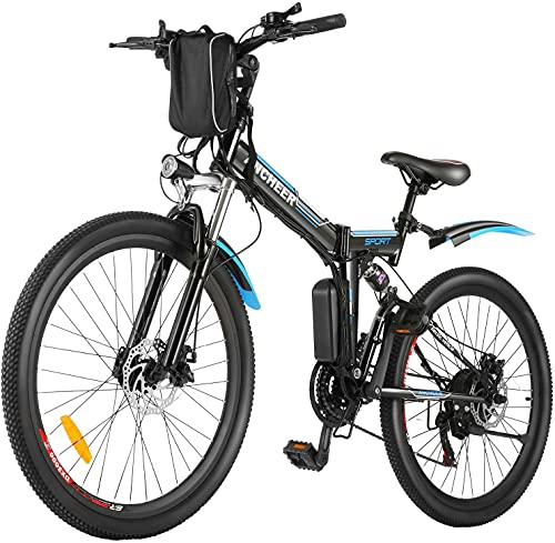 ANCHEER Folding Electric Bike 26'' Electric Mountain Bike Foldable Shimano 21-Speed & Dual Suspension 250W E-Bike with 36V/8Ah Removable Battery Adult Electric Bicycle with Light Aluminum Frame-Black