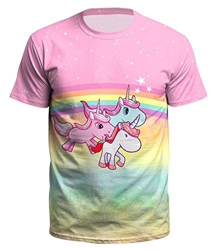 Ocean Plus Homme T-Shirt Décontracté avec Imprimé Animal Haut de Crâne Halloween Galaxie Chemise à Manches Courtes Col Rond Tops - Trois Licornes - M (Tag L)