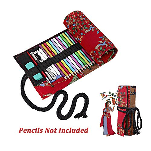 Black Deals Friday Cyber Deals Monday Deals Sales -Red Tree Canvas Sketching Drawing Pencil Wrap Pouch Roll Up Case Holder Storage Bag(Pencils not Included) (72)