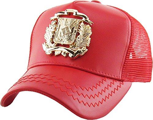 KBVT-DR001 RED (GLD) Dominican Republic Gold Trucker Cap Adjustable Snapback Hat