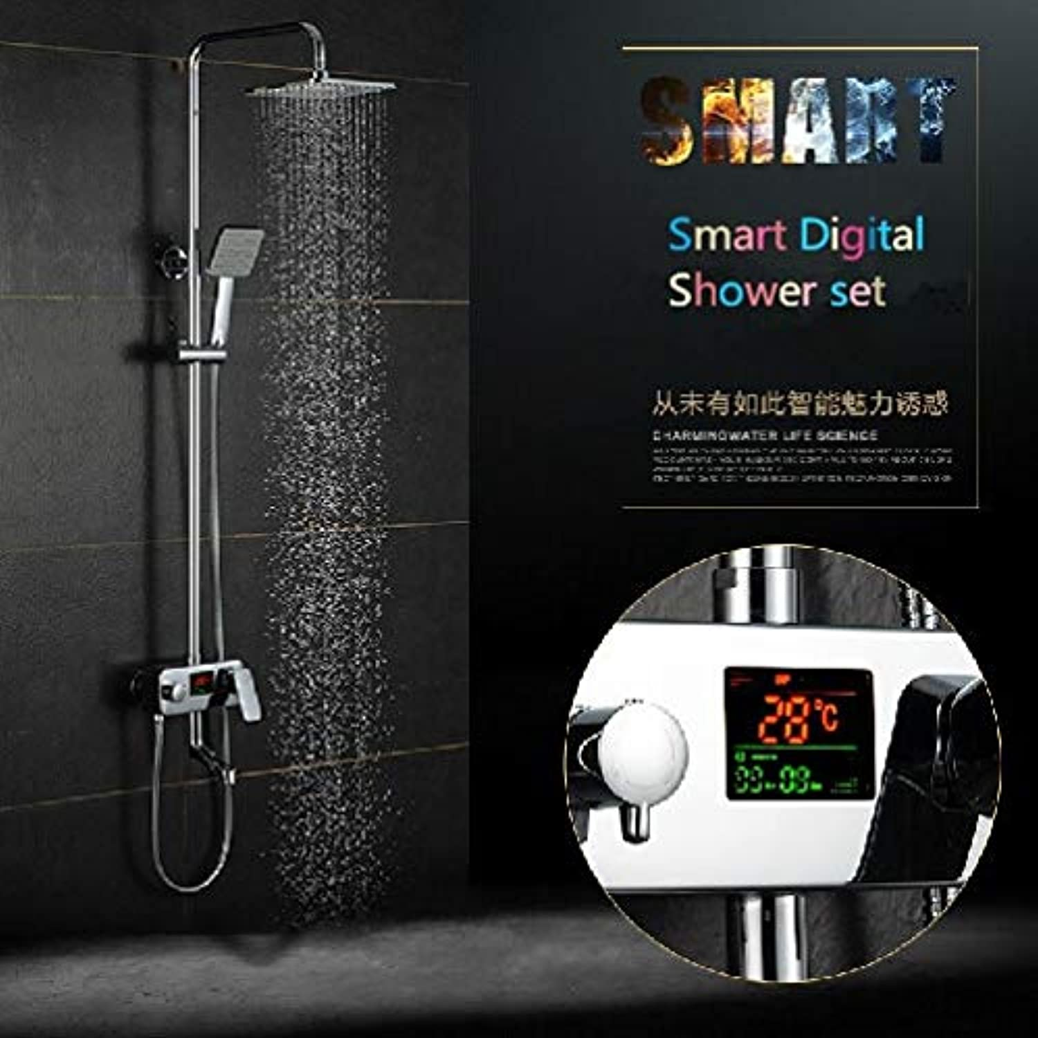 Luxury bathroom digital shower set with temperature display shower Faucet With time rainfall shower set shower set,Multi
