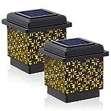 Siedinlar Solar Pfostenleuchte Solarleuchten Metall Warmweiss LED Lampe Wasserdicht für Garten 9x9...