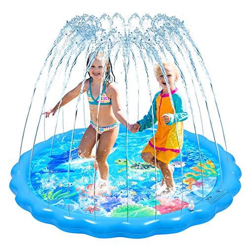STOBOK Splash Pad, 170CM Planschbecken Sprinkle and Splash Play Matte Spielmatte, Aufblasbare Sprinklermatte Sprinklerpool für Kinder Sprinklerpad Outdoor Sommer Garten Wasserspielzeug für Baby