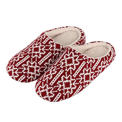Zapatillas Casa Hombre Mujer Invierno Zapatillas De Felpa De Espuma para Mujer, Zapatillas De Invierno Cálidas Y Acogedoras para Dormitorio, Tela De Algodón, Copo De Nieve, Zapatos De Interior-Re