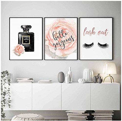 hdbklhjxk Nordic Decor Style Fashion Wandkunst Parfüm Kosmetik Moderne Wandgemälde Frau Schlafzimmer Dekoration Bild Bilden Poster 40x50 cm Kein Rahmen