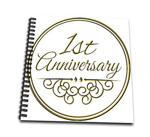 3-drose 1. verjaardag geschenk-goud tekst voor feesten huwelijksdagen 1 eerste jaar together-mini notitieblok, 4 van 10,2 cm (DB 154443 3)