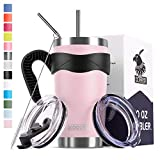 Koodee 20 oz Stainless Steel Tumbler Insulated Coffee Travel Mug wiht 2 lids, 2 Straws, Pipe Brush,Handle (20 oz, pink)