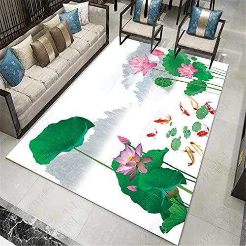 Decoracion hogar Salon,Alfombra Verde, Lotus Pattern Ocio no se desvanece Anti-Fatiga Conveniente Alfombra ,alfombras Lavables -Verde_80x180cm