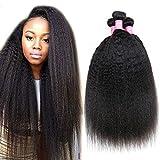 Odir Brazilian Kinky Straight Bundles Brazilian Human Hair 10 12 14 Inch Unprocessed Yaki Straight Virgin Hair 3 Bundles Kinky Straight Hair Weft Natural Black